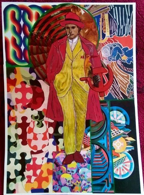 """Maïakovski"", collage sur papier 31x41 cm"