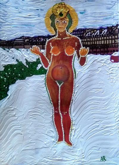 """""""Pomona, Goddess Of The Fruit, In The Snow"""", technique mixte sur papier A4. D'après la sculpture de Pomone par Maillol au jardin des Tuileries. Maillol a représenté la déesse avec un fruit dans chaque main. Moi j'ai intégré les fruits dans sa tête et son corps, et fait de ses mains des sortes de fruits, notamment par la couleur : même hors saison, elle fructifie"""