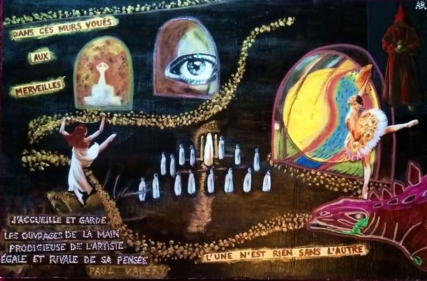 """""""Théâtre"""" Technique mixte sur bois 45x30 cm Ces vers de Paul Valéry sont gravés au fronton du théâtre de Chaillot à Paris"""