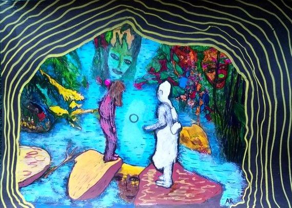 """""""Underground River"""", technique mixte sur papier A4"""