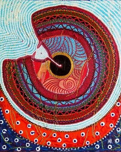"""""""Penetrations"""", acrylique et feutres acrylique sur toile 38x46 cm"""