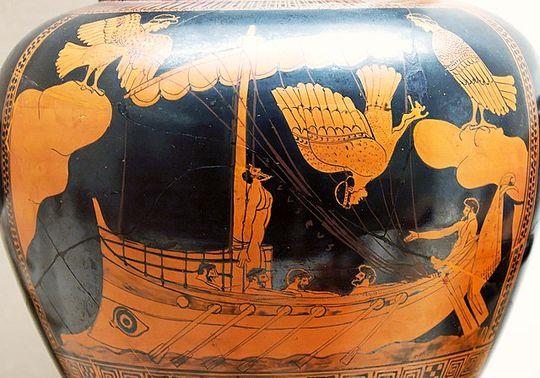 Ulysse et les sirènes sur un vase grec, image wikimedia. Cette image qu'on montre aux enfants des collèges sans jamais les faire réfléchir à son sens. Ulysse se fait attacher pour ne pas succomber, voilà tout ce qu'on dit. Quand j'ai dit, à l'institut de formation des profs, qu'il faudrait aller plus loin, personne n'a compris de quoi je parlais, et quand je l'ai précisé brièvement, l'instructrice m'a répliqué qu'on n'avait pas le temps de discuter de ça avec les élèves. La formation des profs de français : une formation à tuer l'intelligence des élèves, comme l'édition et la télévision tuent l'intelligence des gens de tout âge, par bêtise